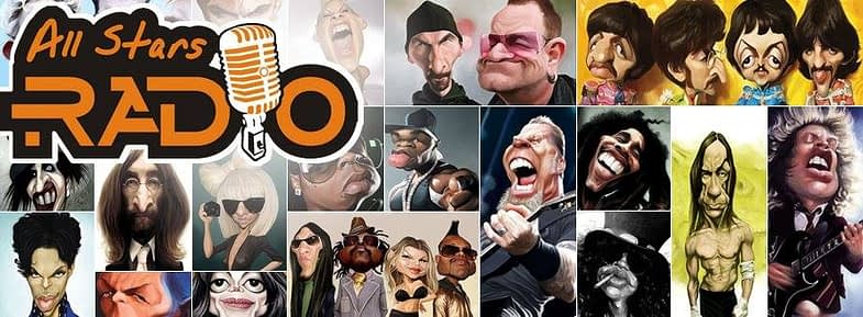 Picture of AllStarsRadio.net logo on top of painted caricatures of legendary artists like U2, Beatles, Alice Cooper, John Lennon, Angus Young, Prince, Slash, Michael Jackson, Metallica, Bob Marley and more.