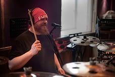 GOla Högberg records his drums in the studio