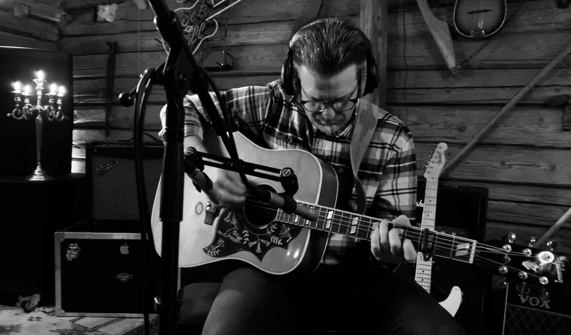 Studio pick of Tailor Hill Stations guitarist Peter Gunnebro records acoustic guitar on the song A Kid On The Street.