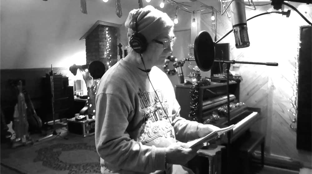 Studio pic of Doug Seegers recording Tailor Hill Stations son A Kid On The Street