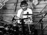Studio pic of Ola Högberg recording drums on the song A Kid On The Street.