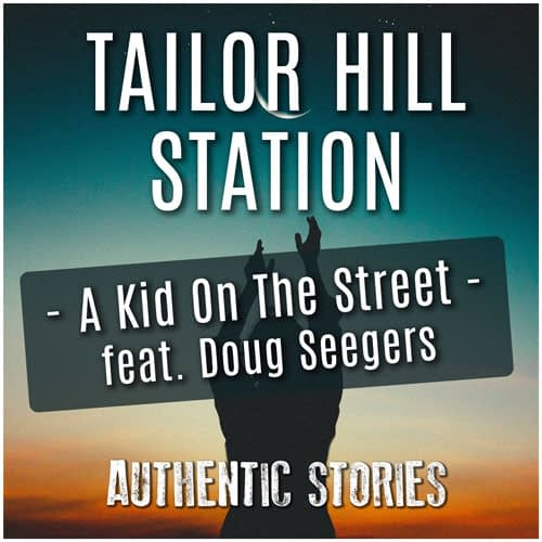 Album cover of Tailor Hill Station - Authentic Stories. Person reaching arms and hands for the moon in the sunset.