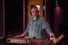 Keyboard player Jocke Åslund records his Hammond organ in the studio